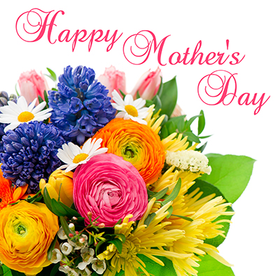 Happy Mothers Day. card concept. beautiful bouquet of colorful spring flowers. tulip, ranunculus, hyacinth, daisy, gerber